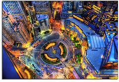 Birdseye view of Columbus Circle, NYC (kw~ny) Tags: nyc newyork centralpark broadway columbuscircle hdr timewarnertowers 59thstreet trumpinternational nikond700 nypdtorch