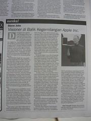 Steve Jobs: Visioner dibalik kegemilangan Apple inc. dimuat di harian umum pikiran raktyat hari kamis tanggal 25 juni 2009 kolom Eureka!