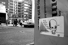 pestery kids! (damonabnormal) Tags: street city urban blackandwhite bw streetart philadelphia canon graffiti sticker stickerart stickers streetphotography urbanart pa april philly graff phl tool 2010 40d