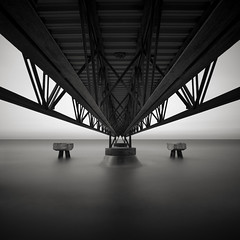 Edgewater: Study I (Jeff Gaydash) Tags: longexposure blackandwhite water square pier seascapes symmetry greatlakes edgewater lakescapes edgewaterpark nd110
