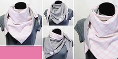 Dreieck rosa karo (nicenicenice.de) Tags: scarf circle check loop handmade craft fabric button shawl etsy karo checkered handcraft bommel sewn pompon nhen handarbeit kariert dawanda