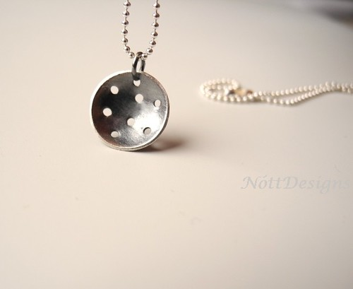 Impact Crater Oxidized Necklace Sterling Silver