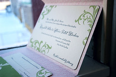 Letterpress wedding invitations - Vettore - Smock (Smock Letterpress) Tags: pink green navy bamboo invitation smock vettore pocketfold replycard letterpressweddinginvitations