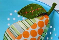 Orange Pear (Retro_Mama) Tags: blue orange green yellow tangerine fruit 50mm leaf stem aqua lotus stripes gray bowl fullmoon polkadots pincushion lime colander amybutler oxfordstripe
