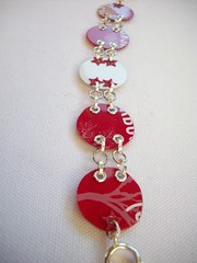 Red and White Circles (Jupita) Tags: colors beads jewelry starbucks recycledart bracelet wearableart recycle giftcard glassbeads repurpose upcycle starbuckscard trashion plasticcard upcycledgiftcard necklacemjupita