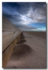 Sand & wood (Vicent de los Angeles) Tags: wood sea beach valencia clouds canon eos mar spain madera sand footbridge wideangle playa arena nubes pasarela nublado hdr photomatix xeraco tonemapping golddragon 40d