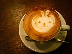 bunny cappucchino ;) (yocca) Tags: cameraphone cute rabbit bunny topf25 mobile yummy cafe kyoto cellphone 100v10f 2009 15faves cappucchino jan2009 w63ca