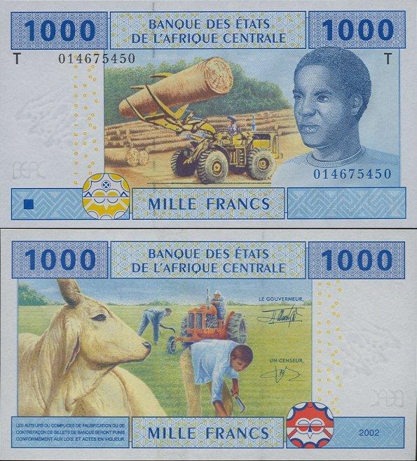 1000 frankov Kongo 2002
