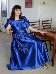 Perfect fit (Paula Satijn) Tags: blue easter shiny dress skirt tgirl tranny transvestite eggs gown satin silky ballgown