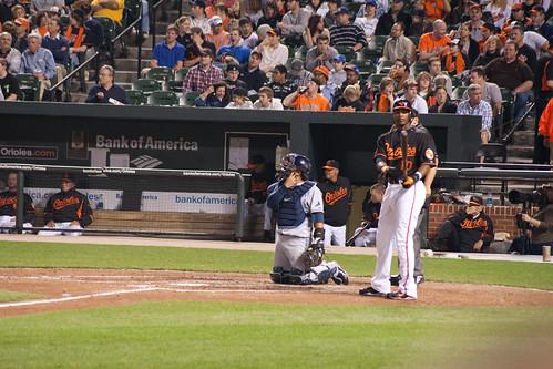 Adam Jones evaluating his bat