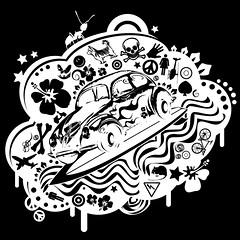 Surfbeetle cloud (miles artist) Tags: vw bay beetle tshirt screen printing miles camper t2 blackvector tebbutt skatrading