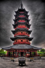 Ruiguang Pagoda in Suzhou (longyan79) Tags: china red sky black building rot tower history colors pagoda nikon colorful suzhou colours buddhist kultur chinese culture himmel buddhism symmetry balance  colourful  nikkor turm bauwerk schwarz hdr vr jiangsu farben chinesisch geschichte pagode 18105 symmetrie buddhismus farbenfroh d90  ruiguang  18105mm nikond90 ruiguangpagoda  nikon18105mm  longyan79