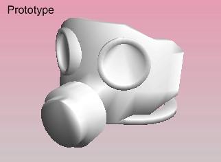 Prototype of custom minifig gasmask