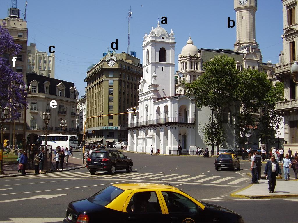 PLaza de Mayo aujourd'hui, Cabildo, entrée Avenida de Mayo, Diagonal Sur et Calle Bolivar