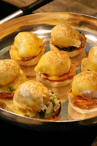 Eggs Benedict with crab, salmon, avocado or ham