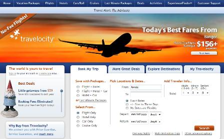 Travelocity.com homepage
