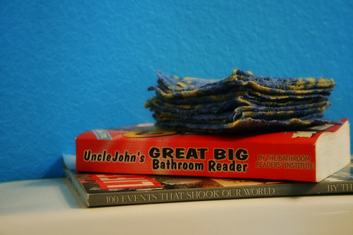 cloth toilet paper and bathroom reading