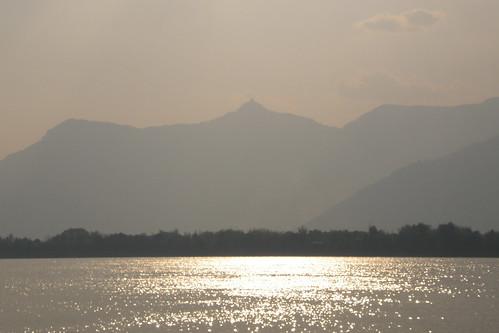 155.日落照耀著湄公河與Champasak的神山