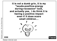 """it is not a dumb grin, it is my """"exude-positive-energy during-recession"""" look, and actually yes, i do think it is having a positive impact even if it does scare small children... (Vimrod1) Tags: london cartoon bricklane e1 brainwaves licensing trumanbrewery moonpig vimrod lastlemon haroldsplanet ralphlazar lisaswerling affordableartfair draywalkgallery vimrodcom blesthischick moonpigcom moonpigcards"""