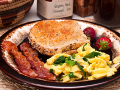 365 Breakfasts-151 (Walter Ezell) Tags: coffee breakfast bacon basket toast strawberries eggs 365 organic jam spinach zd 50mmmacro20