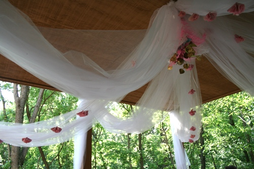 tulle and fabric flower garlands