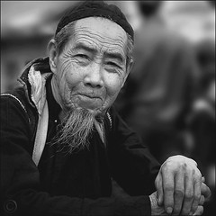 Non-verbal conversation (NaPix -- (Time out)) Tags: portrait bw man black 6x6 face canon square asia father vietnam explore conversations emotions sapa hmong 500x500 nonverbal explored napix