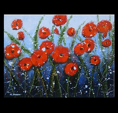 Original Blue Sky Landscape Painting Morning Red Poppies (hjmartgallery) Tags: abstract cute art floral painting landscape acrylic bluesky canvas poppies wildflowers redpoppies poppiesfield