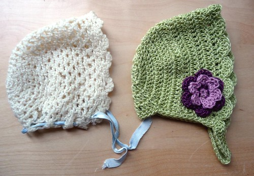 Crochet Baby Bonnet Pattern : Lindamade Crocheted Baby Bonnet