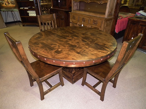 "60"" Round Alder and Metal Table"