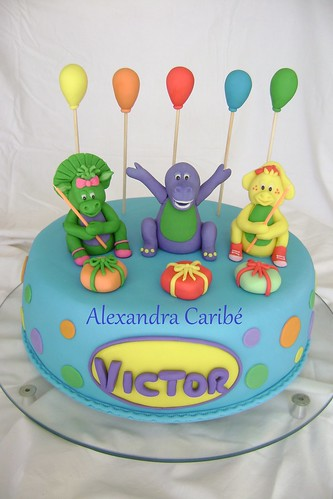 Bolo Barney e seus amigos - barney cake