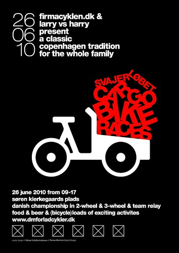 Poster for Danish Cargo Bike Championships 2010 / Svajerløb [UK version]