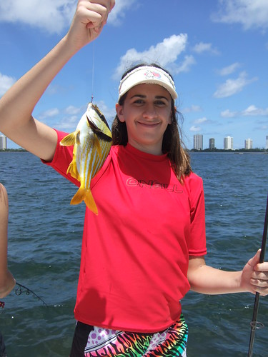 Rachel catches a porkfish