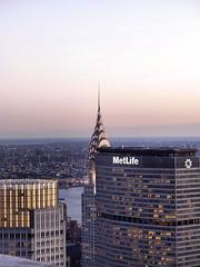 The Chrysler Building and MetLife from Rockefeller Center at Dusk (katiemetz) Tags: city nyc newyorkcity sunset urban ny newyork building skyscraper twilight view dusk manhattan rockefellercenter chryslerbuilding gebuilding