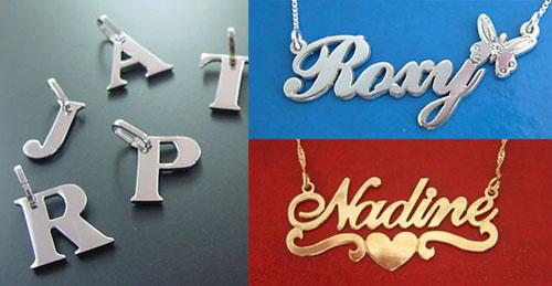 Collage con fotografías de los deliciosos colgantes con letras y nombres de persona