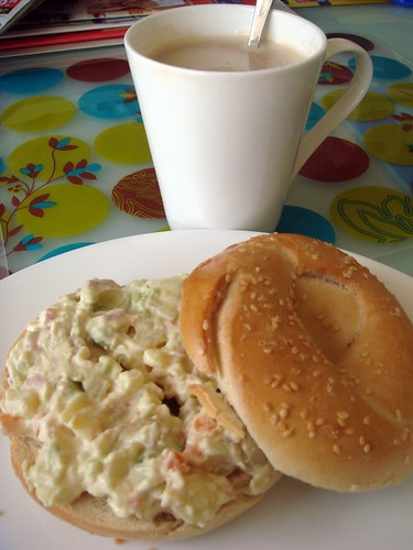 Potato salad on bagel