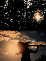 Rock Star ({peace&love}) Tags: blue summer orange sun girl silhouette diptych courtney flare tress sunflare pinkparis1233 tehotakuninja