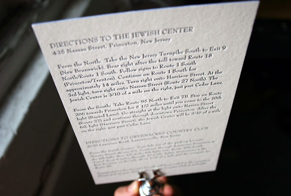 Letterpress direction card for a Bar Mitzvah invitation suite - by Smock