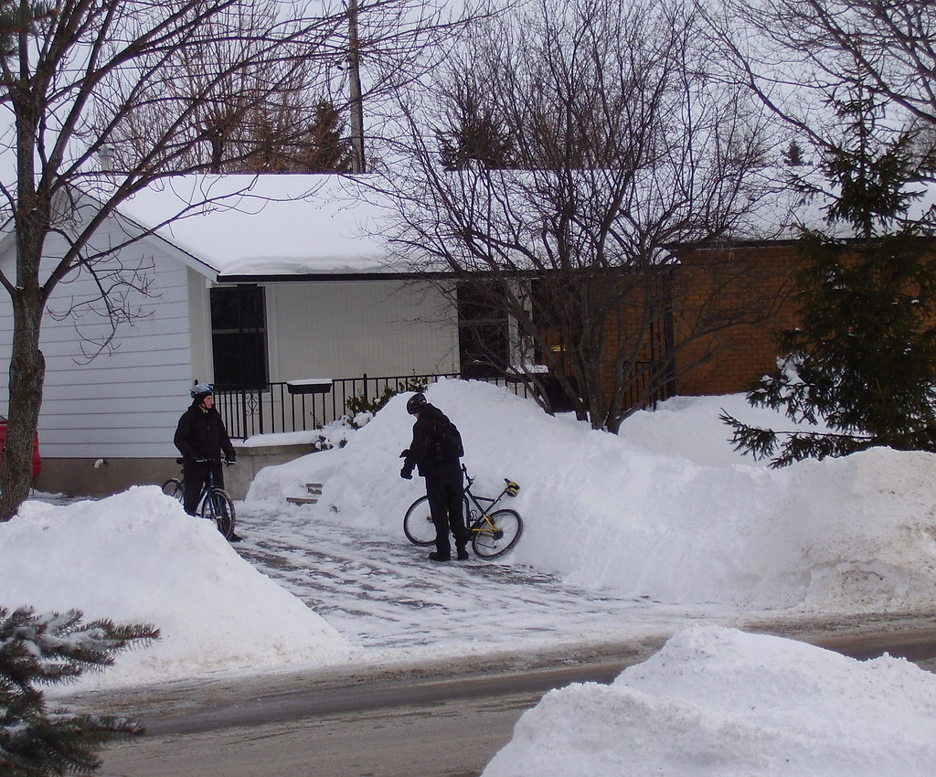 Biking in Amherstview, Ontario in January 2009