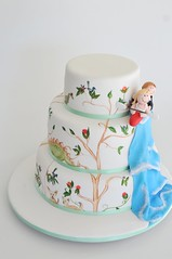 Natasha & Seth's Kyak Cake (Sweet Tiers) Tags: wedding white cake groom bride waterfall hand dinosaur chocolate painted banana figurines buttercream kyak chiouaoua