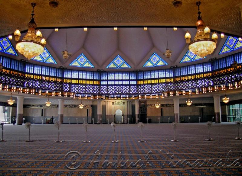 An inside view of the national mosque, kuala lumpur, malaysia. i had