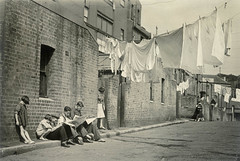 Views in Sydney and New South Wales, 1930-40 / by Charles F. Walton (State Library of New South Wales collection) Tags: girls boys vintage buildings reading women newspapers sydney hats streetphotography s streetscene laundry clotheslines washing clothespins streetscapes backlane ferrylane chldren heroofwaterloo statelibraryofnewsouthwales charlesfwalton rockslaneway downshirestreet commonsbest