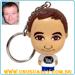 Custom Key Ring White Mini Big Head Doll