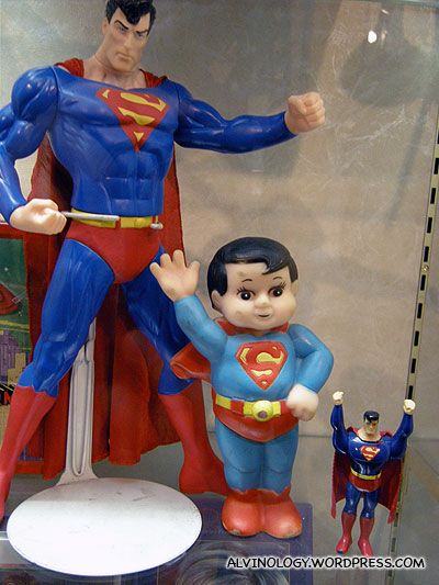 The superman in the middle looks funny