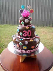 Mossy's masterpiece 30th birthday 3 tier chocolate wonky cake with multi coloured dots (Mossy's Masterpiece cake/cupcake designs) Tags: chocolate 30thbirthday wonkycake