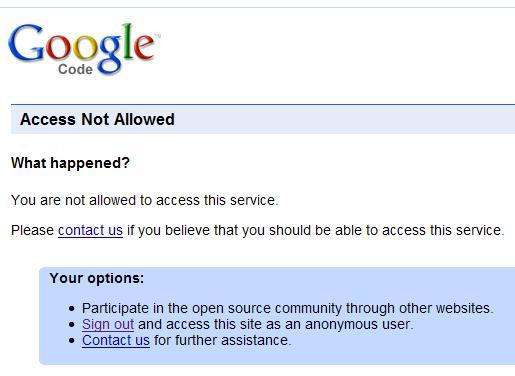 被GoogleCode拒之门外
