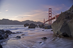 Dream (lkylindy) Tags: ocean california ca bridge sunset color beach water silhouette rock golden evening bay coast twilight nikon gate san francisco rocks waves pacific pastel wave area april frothy marshalls 2009 d40 mywinners