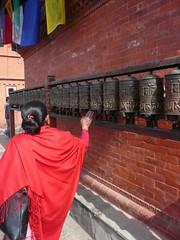 Swayambhunath, Katmandu, Nepal (balavenise) Tags: nepal shrine god buddha prayer religion buddhism prayerwheel katmandu swayambhunath prire devnagari  moulinsprire flickrgiants