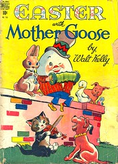 Easter with Mother Goose by Walt Kelly, 1948 (twomets) Tags: dog rabbit bunny 1948 cat comics easter pig duck egg 1940s violin dell comicbook concertina 40s funnyanimals humptydumpty mothergoose waltkelly