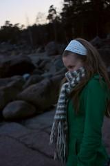 Cold (dronir) Tags: trees sea portrait scarf rocks shore henna porvoo emäsalo canoneos450d chinon28mmf28 varlaxudden
