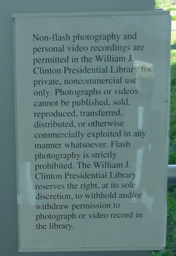 Photo rules at Bill Clinton Library, Little Rock, Arkansas